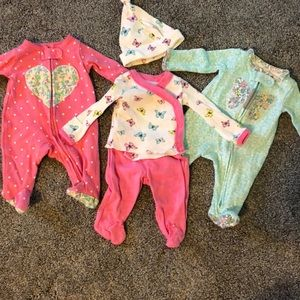 Lot of Preemie Girl Pajamas